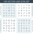 100 icons vector image