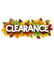 autumn clearance banner with leaves vector image