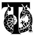 gargoyle decorating capital letter t vector image