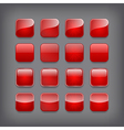 Set of blank red buttons vector image