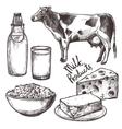 Sketch Milk Products Set vector image