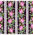 Seamless floral pattern with pink roses forget-me vector image
