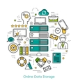 Online Data Storage - Round Line Concept vector image vector image