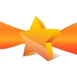 orange star with ribbon on background vector image
