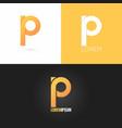 letter P logo design icon set background vector image