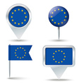 Map pins with flag of European Union vector image
