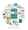 Online Data Storage - Round Line Concept vector image