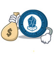 with money bag lisk coin character cartoon vector image