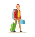 smiling man traveler standing with backpack and vector image