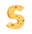 cheese font s letter on white vector image vector image