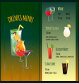 Drinks menu template vector image