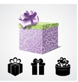 Gift Box Isolated on White and Some Present Icons vector image