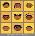 set cute faces African children flat style vector image vector image
