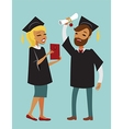 Two happy graduate students vector image vector image