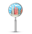 City in Magnifying Glass Isolated on White vector image