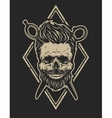 Skull with a beard and a stylish haircut vector image