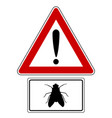 attention sign with exclamation mark and fly vector image