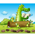 A crocodile and the three playful frogs vector image
