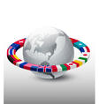 Travel background Globe with a strip of flags vector image