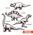 Hand drawn dinosaurs set black doodle vector image