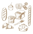 Bakery sketch icons with bread and pastry vector image vector image