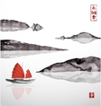 Junk boat with red sails and mountains vector image