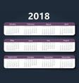 calendar 2018 year design template vector image