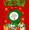 christmas gift and xmas tree garland greeting card vector image