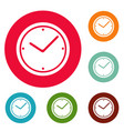 clock icons circle set vector image