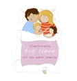 Family with children sleeping together Bed linen vector image