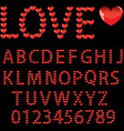 love the alphabet with a heart letters and numbers vector image