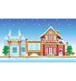 santa house and ice castle vector image
