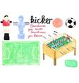 Set watercolor foosball or kicker design elements vector image