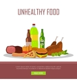 Unhealthy Food Banner Isolated on White vector image