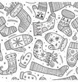 christmas mittens and socks mix seamless pattern vector image