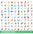 100 human icons set isometric 3d style vector image