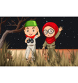 Boy and girl camping out in the field vector image