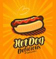 american hot dog fast food poster pop art retro vector image
