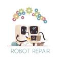 robots repair cartoon composition vector image