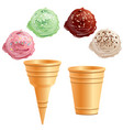 set of different ice cream cones vector image