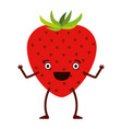 white background of caricature strawberry fruit vector image