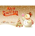 Snowman with ice cream vector image vector image