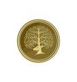 Deer Head Tree Antler Gold Coin Retro vector image