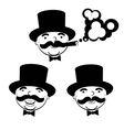 black and white set of men in top hats vector image