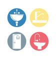 flat set icon bathroom design vector image