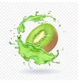 fresh kiwi fruit juice splashing realistic 3d vector image