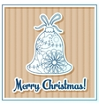 Merry Christmas card on cardboard with toy vector image