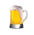Mug of golden beer topped with foam vector image