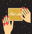 woman hand with red fingernails gift certificate vector image