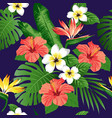 tropical flowers and leaves vector image vector image